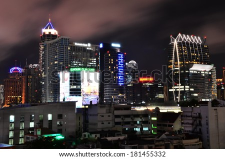BANGKOK, THAILAND - 7 September 2012 : Thailand's night cityscape in Sukhumvit area, one of the high rises and skyscraper cluster points.