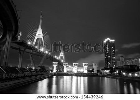 BANGKOK, THAILAND-September 14:The Bhumibol Bridge , one of Thailand most famous bridges, spanning the river Choa Phraya on September 14 ,2013 in Bangkok, Thailand.