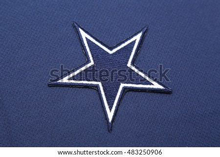 BANGKOK, THAILAND -SEPTEMBER 14, 2016: The Logo of NFL Dallas Cowboys on the textile on September 14,2016 in Bangkok Thailand.