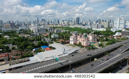 Bangkok, Thailand - September 25, 2016 - The skyline of Bangkok, the urbanised capital city of Thailand