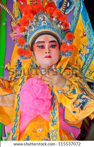 BANGKOK, Thailand - SEPTEMBER  27 : Unidentified actor of the Chinese Opera perform  at  The Nine Emperor Gods Festival  on September 27, 2011 in Bangkok Thailand.