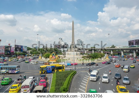 Bangkok, Thailand, September 28,2015 : Victory Monument  is remarkable soldier statue for respect bravery in war Center of Bangkok city of Thailand.With traffic around.