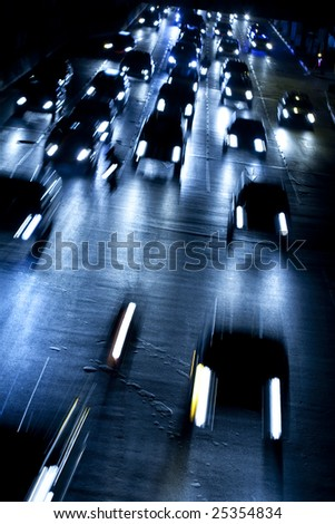 Bangkok Traffic at Night - stock photo