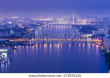 Bangkok twilight cityscape topview. Thailand. - stock photo