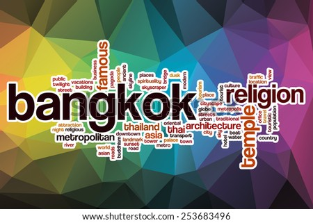 Bangkok word cloud concept with abstract background - stock photo