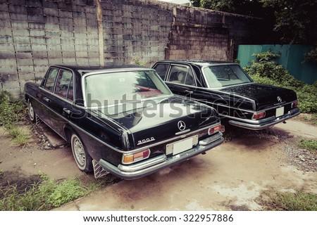 BANGKOKI, THAILAND -SEPTEMBER 18, 2015: Private old car of Mercedes Benz 300D Parking abandoned in chatuchak bangkok thailand. - stock photo