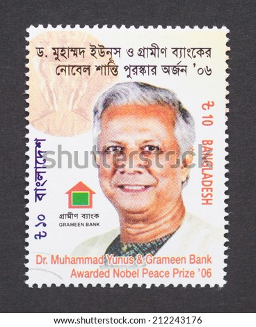 BANGLADESH - CIRCA 2007: a postage stamp printed in Bangladesh  showing an image of Nobel Peace prize winner Dr. Muhammad Yunus, circa 2007.  - stock photo
