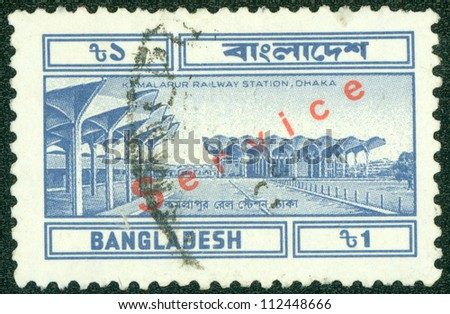 BANGLADESH - CIRCA 1994: A stamp printed in Bangladesh shows Kamalapur Railway Station in Dhaka, circa 1994 - stock photo