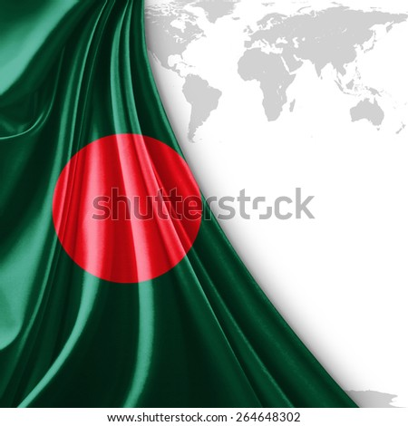 Bangladesh flag and world map background - stock photo