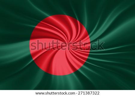 Bangladesh flag of silk - stock photo