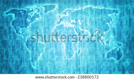 bangladesh flag on blue digital world map with actual national borders - stock photo