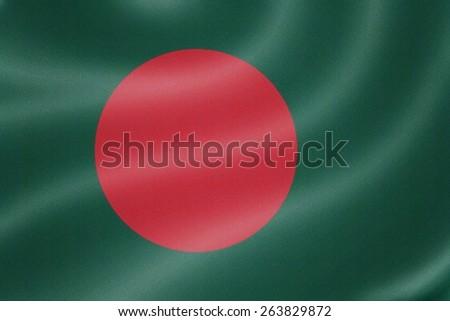 Bangladesh flag on the fabric texture background - stock photo