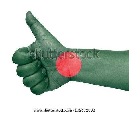 Bangladesh flag on thumb up gesture like icon - stock photo
