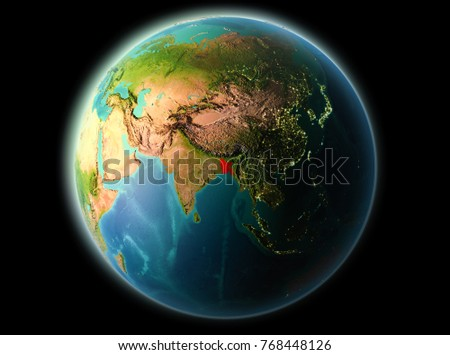 Bangladesh from orbit of planet Earth at night with highly detailed surface textures. 3D illustration. Elements of this image furnished by NASA.