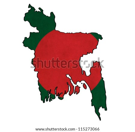 Bangladesh map on Bangladesh flag drawing ,grunge and retro flag series