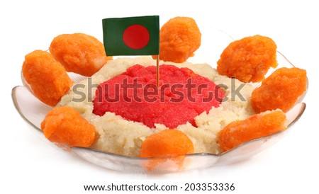Bangladeshi Cuisine Halua or Halva with national flag on a bowl - stock photo