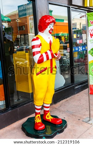 BANGPRAKONG, THAILAND - AUG 9:  Ronald McDonald character at McDonald's  at motor way rest area on Feb 9, 14 in Bangprakong. It is the world's largest chain of hamburger fast food restaurants. - stock photo