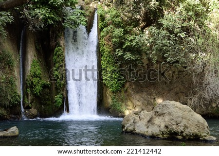 Banias fall in Banias National park on the North of Israel. - stock photo