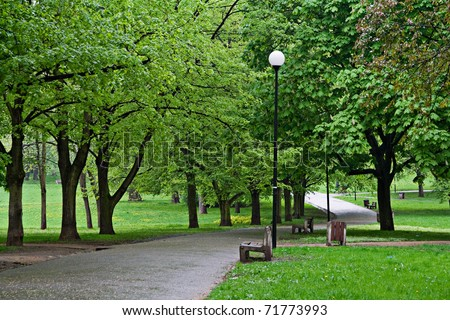 bank and way in the park - stock photo