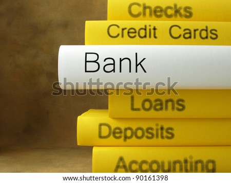 Bank (book titles) - stock photo