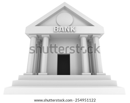 Bank building. 3D render icon isolated on white. Finance and credit concept.