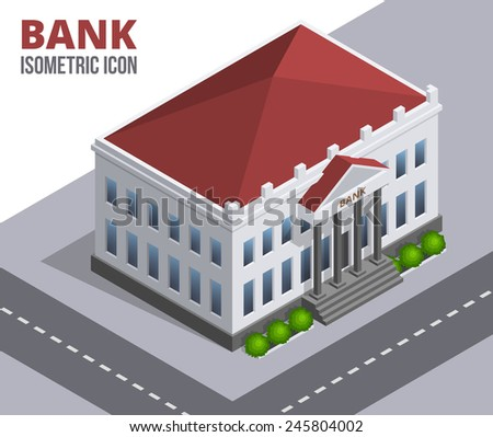 Bank building. Isometric icon of a building with columns and red roof