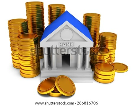 Bank building with gold coins. 3D render icon isolated on white. Finance and credit concept.