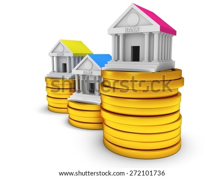 Bank buildings on stack of coins. 3D render icon isolated on white. Real estate, rent, finance and credit concept. - stock photo