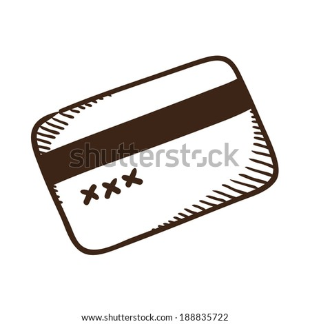 Bank credit card symbol. Isolated sketch icon pictogram. - stock photo