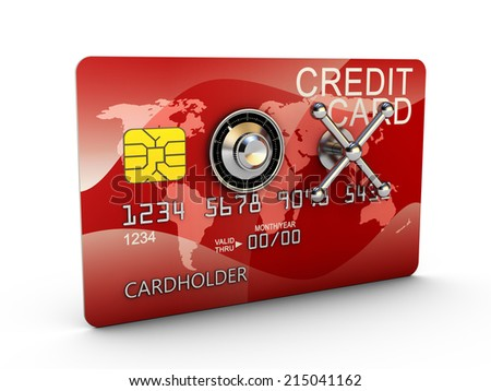 bank credit card with a combination lock on the safe - stock photo