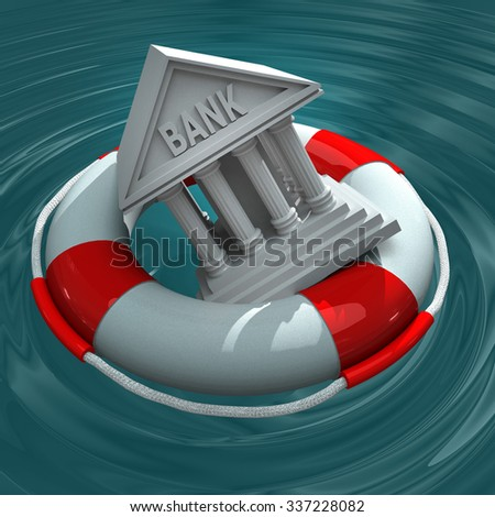 Bank crisis. Model of the bank in lifebuoy.  - stock photo