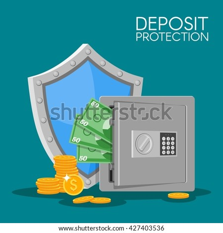 Bank deposit illustration in flat style. Save your money concept. Dollar banknotes and coins in safe. Finance security. Deposit money background. - stock photo