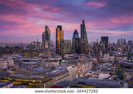 Bank district of central London at magic hour after sunset with office buildings and beautiful sky - England, UK
