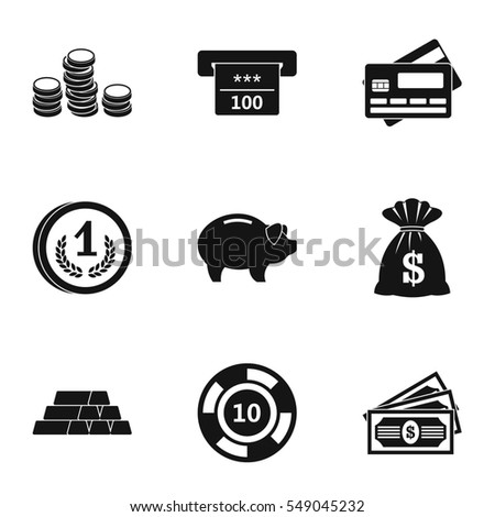 Bank icons set. Simple illustration of 9 bank  icons for web