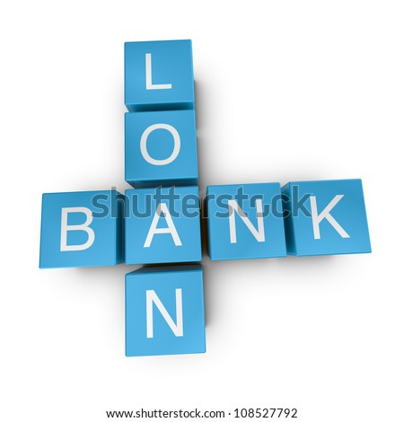 Bank loan crossword on white background, 3D rendered illustration - stock photo