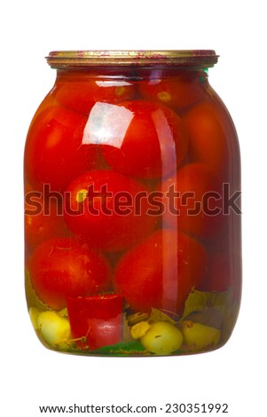 Bank of canned red tomatoes isolated on white background - stock photo