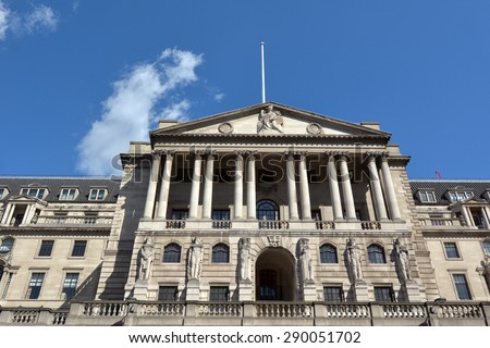 Bank of England Central Bank Headquarters faced in City of London, UK. - stock photo