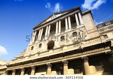 Bank of England in London. Filtered colors style. - stock photo