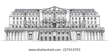 Bank of England London, Sketch collection - stock photo