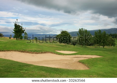 Bank of sand in golf course. Mountain Golf Course.
