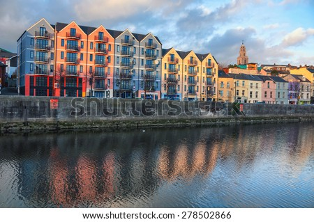 Bank of the river Lee in Cork, Ireland city center with various shops, bars and restaurants. It is a third largest city in country and popular touristic resort - stock photo