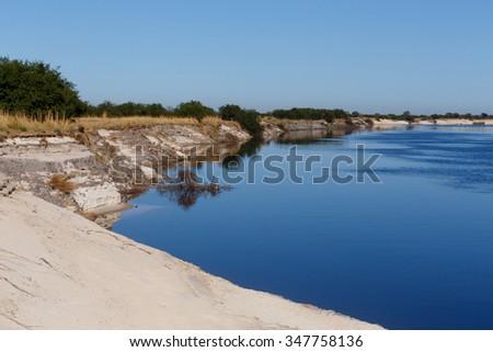 bank of the Zambezi river - fourth-longest river in Africa, Caprivi region, Namibia - stock photo