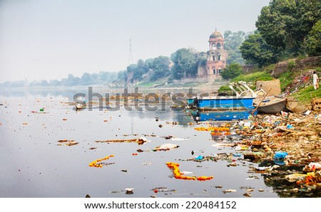 Bank of Yamuna river near the Taj Mahal. India, Agra - stock photo