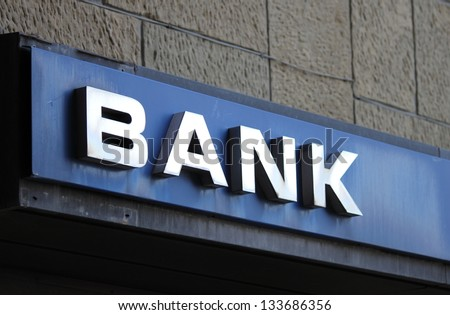 Bank office sign on building - stock photo