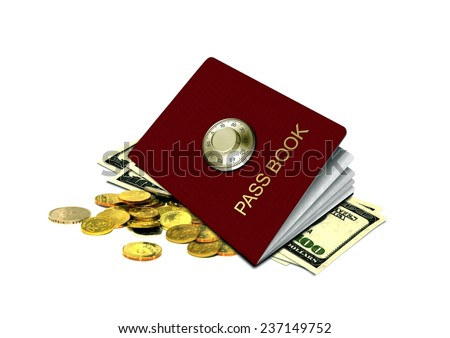 Bank Pass Book and Money - stock photo