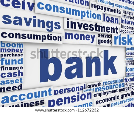 Bank poster design. Financial message background - stock photo