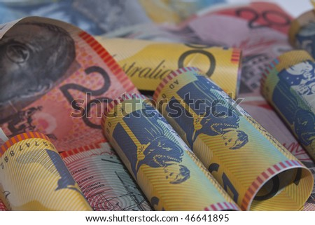 bank roll of australian dollars - stock photo