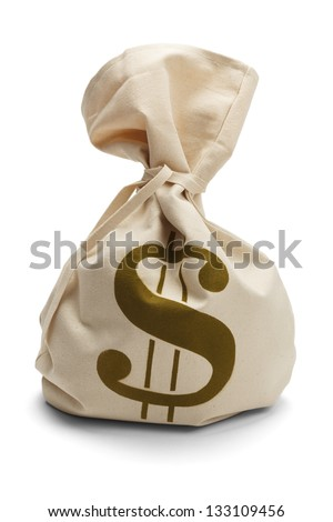 Bank Sack of money tied up isolated on a white background. - stock photo