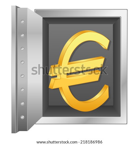 bank safe and gold euro symbol illustration.