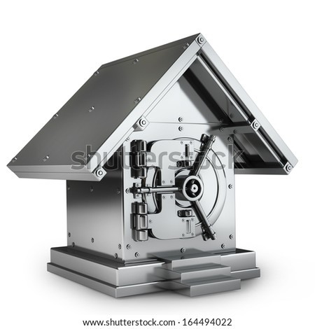 Bank Safe in form houses isolated on white background High resolution 3d  - stock photo